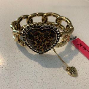 Betsey Johnson animal print heart bracelet